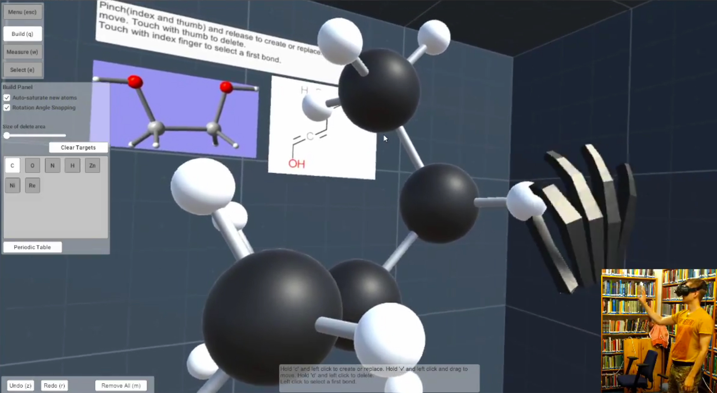 A screenshot of VR-CHEM prototype video demonstration.