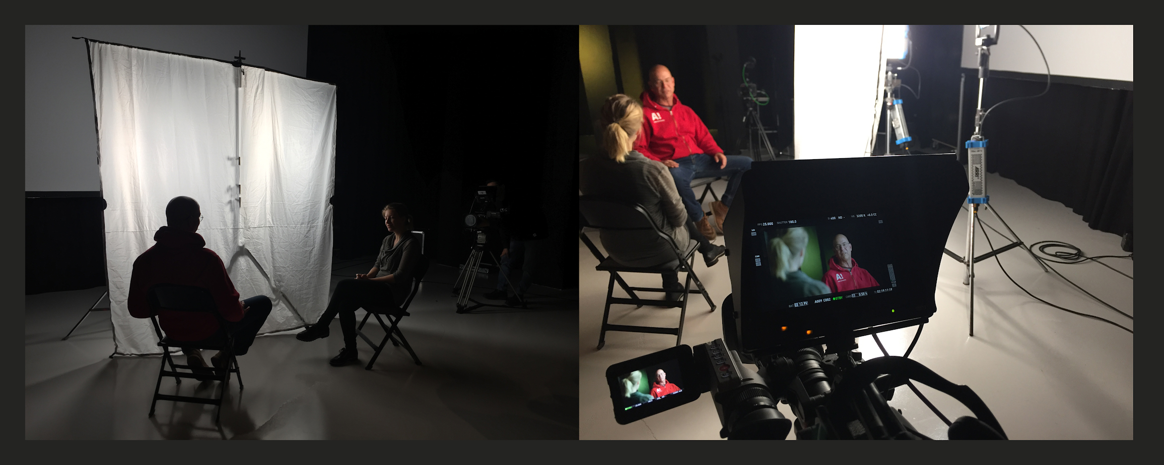 Two studio setups: one with the white screen and the other with close-up of a videocamera.