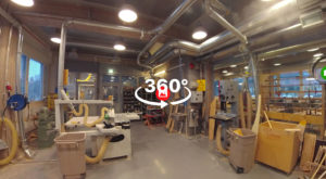 A screenshot of 360 degree picture showcasing a workshop environment.