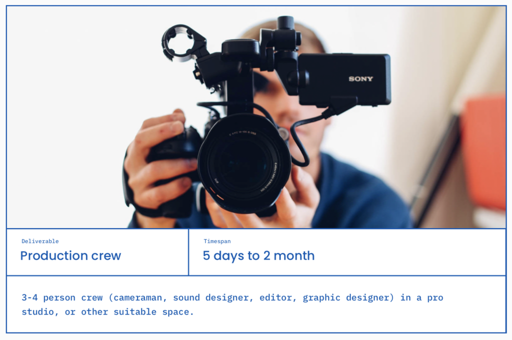 Category: Production crew, 5 days to 2 months, 3-4 person crew (cameraman, sound designer, editor, graphic designer) in a pro studio, or other suitable space.
