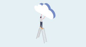 Illustration of a human figure on a ladder, holding a cloud