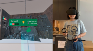 A girl wearing VR headset.