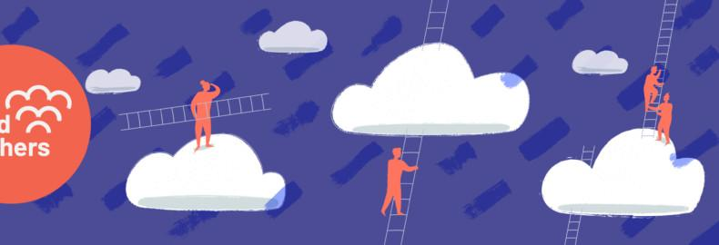 Cloud Reachers podcast banner showing clouds, ladder and a person